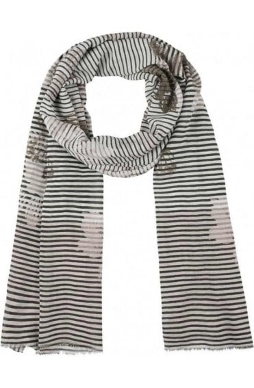 Striped Floral Print Scarf