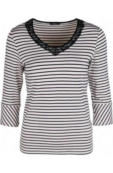 Striped Lace Detailed Top