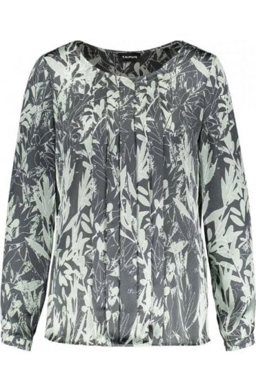 Green & Grey Patterned Blouse