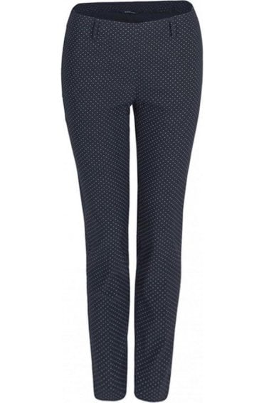 Dot Print Slim Leg Trousers
