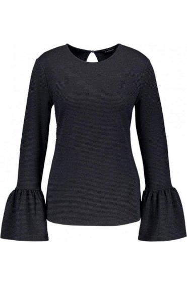Navy Ribbed Bell Sleeve Top