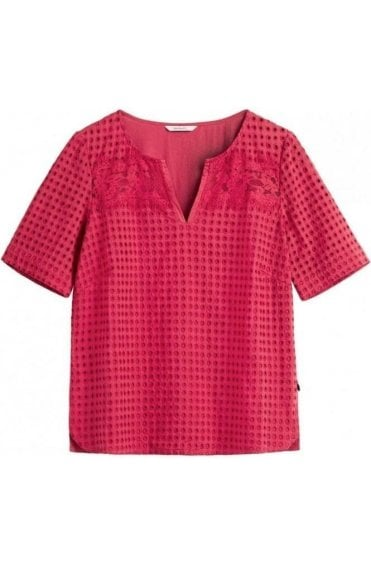 Red Lace Effect Blouse