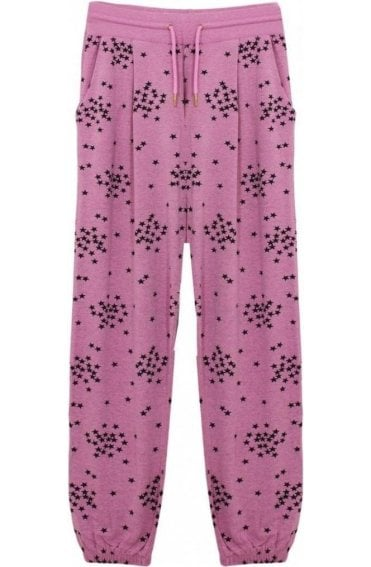 Pink Star Print Jersey Trousers