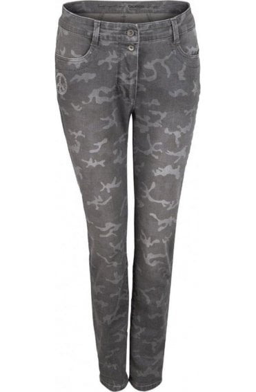 Faded Grey Patterned Jeans