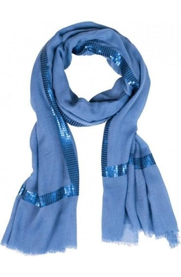 Blue Sequin Detailed Scarf