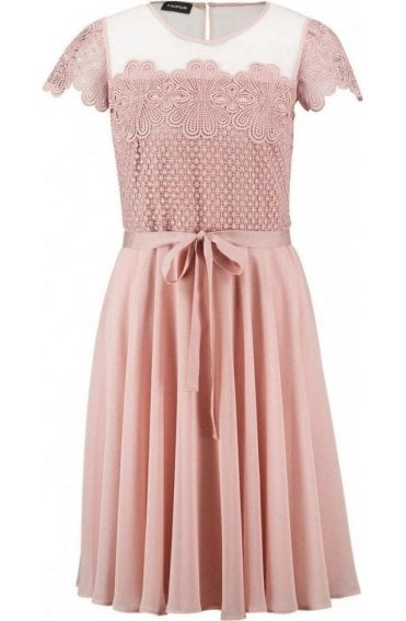 Pink Lace Detailed Dress
