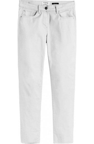 White High Waisted Crop Trousers