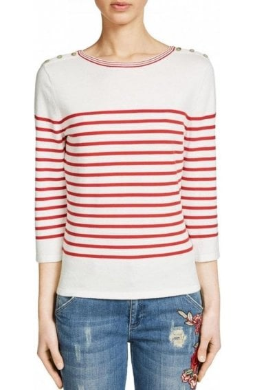Red & Off White Striped Sweater