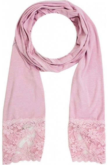 Pink Lace Edged Scarf