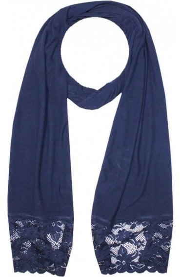 Navy Lace Edged Scarf