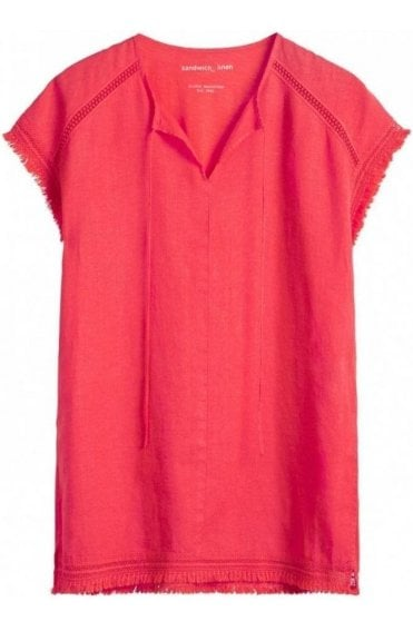 Coral Linen Front Tunic