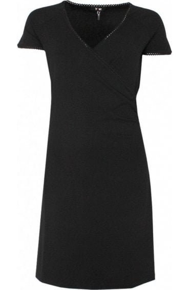 Black Wrap Front Dress