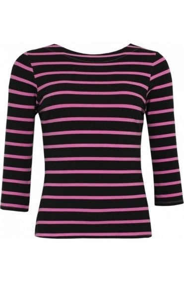 Pink Striped Jersey Top