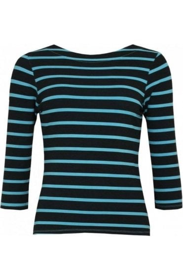 Blue Striped Jersey Top