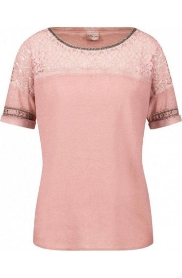Pink Lace Detailed Top