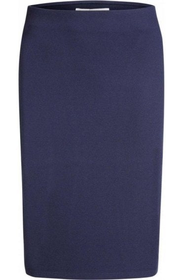 Navy Fine Ribbed Skirt