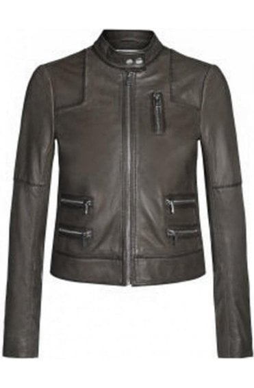 Taupe zip leather Jacket