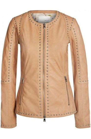 Camel studded Leather Jacket
