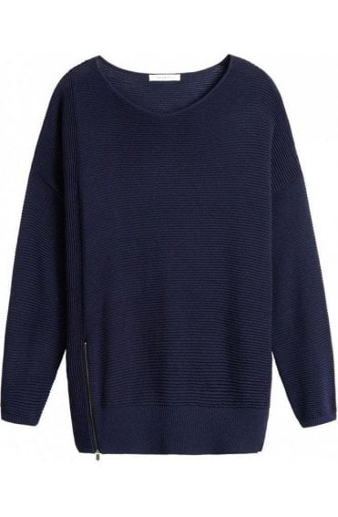 Navy Ribbed Knit Sweater
