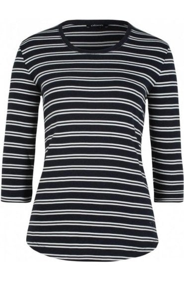 Navy & White Striped Top