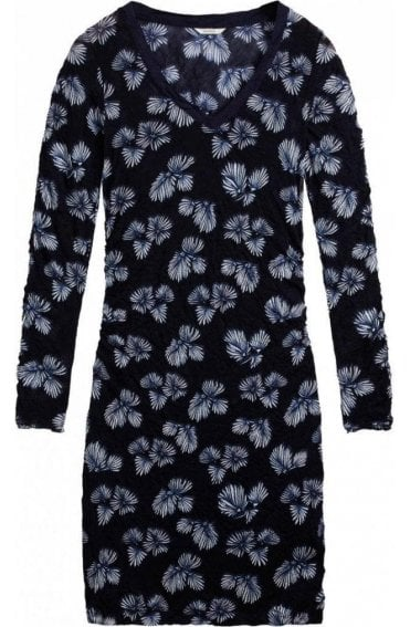 Navy Crushed Patterned Dress