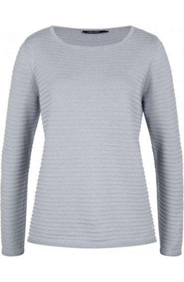 Grey Ribbed Knit Sweater