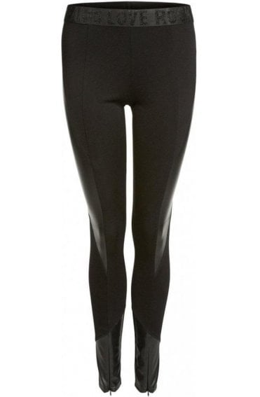 Black Faux Leather Detailed Leggings
