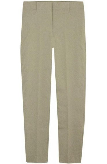 Beige Slim Leg Cropped Trousers