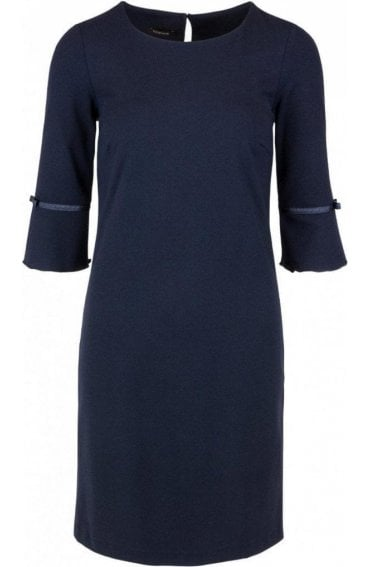 Navy Flared-Sleeve Dress