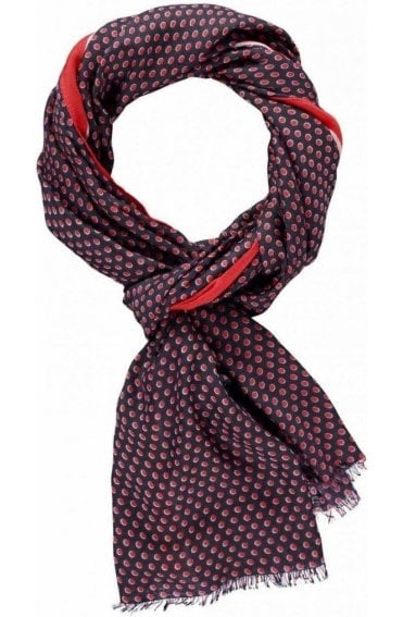 Navy and Red Spotted Scarf
