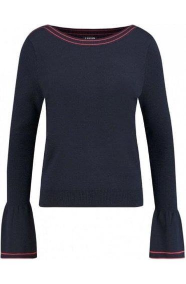 Navy Bell-Sleeve Sweater