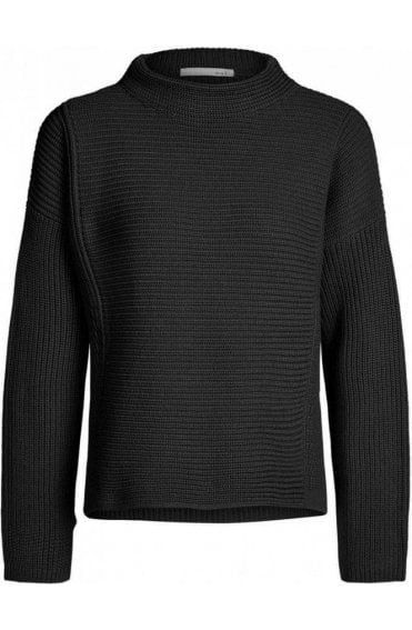 Black Ribbed Knit Sweater