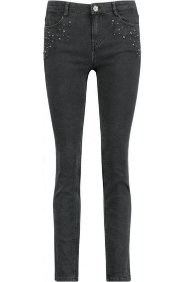 Black Stud Detailed Jeans