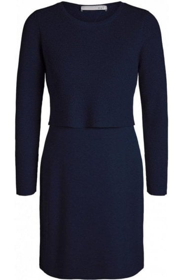 Navy Layered Effect Knit Dress