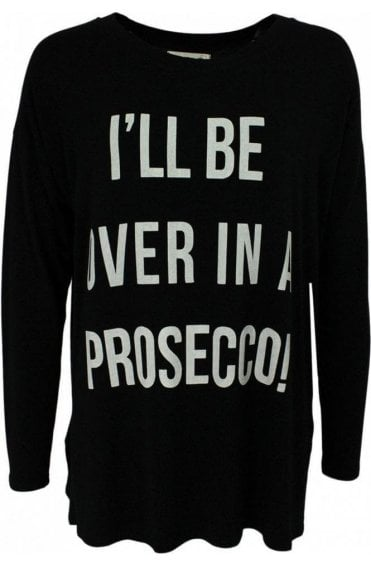 Prossecco Black Jersey Top