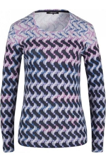 Pink & Blue Patterned Top