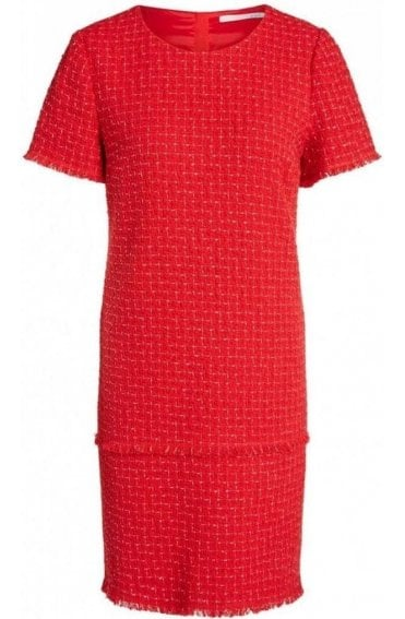Red & White Textured Weave Dress