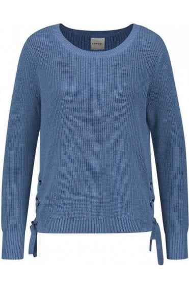 Blue Ribbed Knit Sweater