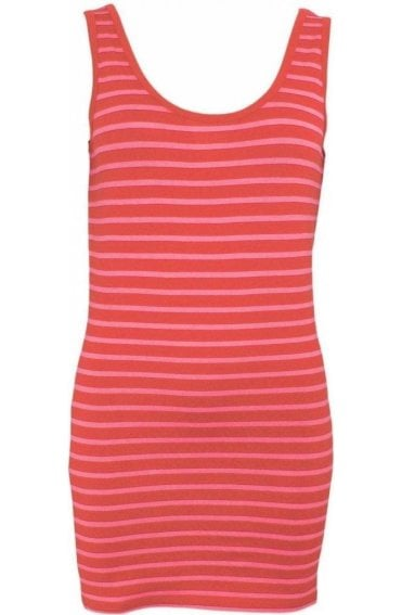 Pink Red Striped Vest Top