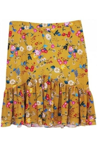 Floral Print Frilled Skirt