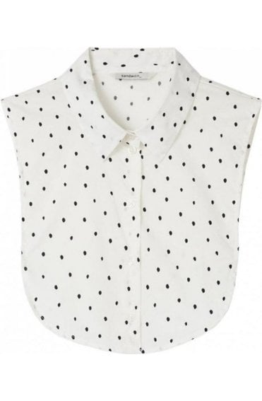 Spring White Spot Shirt Collar