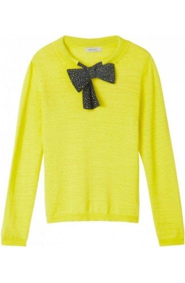 Warm Yellow Tie Detailed Sweater