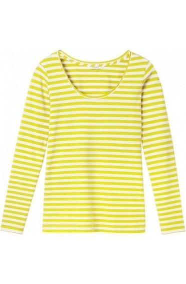 Warm Yellow & White Striped Top