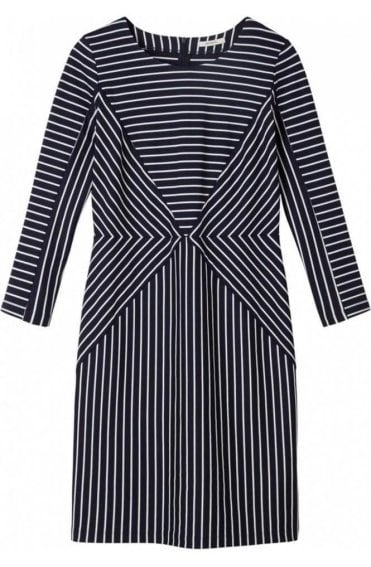 Dark Sapphire & White striped Dress