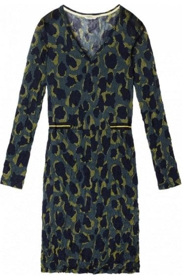 Deep Jade Crushed Patterned Dress