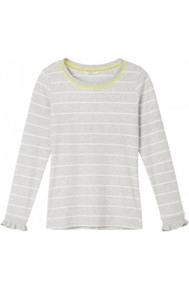 Fresh Grey & White Striped Top