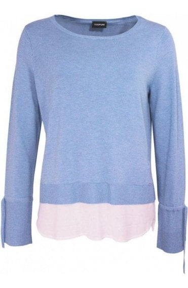 Blue Knit Layered Effect Top