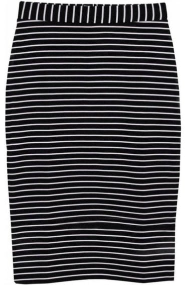 Navy& White Striped Skirt