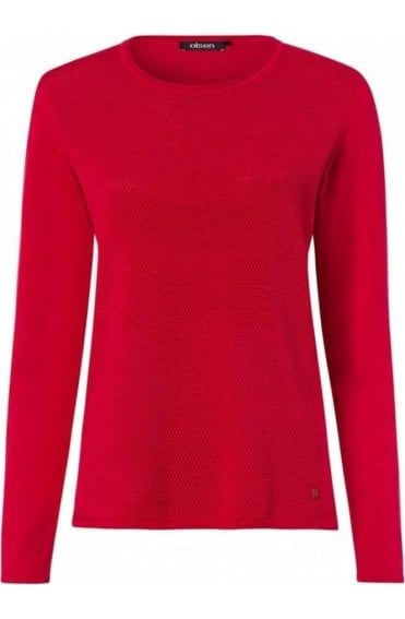 Red Textured Knit Sweater