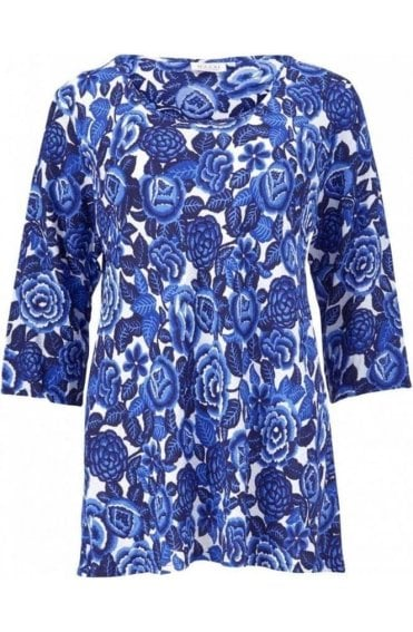 Garnetta Greek Blue Floral Tunic